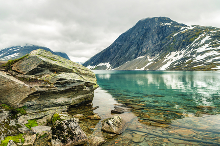 Lake Djupvatnet near the mountain Dalsnibba and the Geirangerfjord in Norway. Travel to Norway. Panorama of the lake Djupvatnet on the road to mount Dalsnibba in Norway. Norway lake Djupvatnet