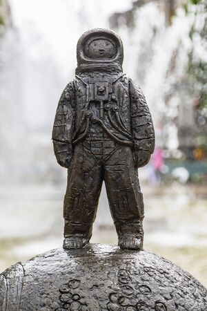 Oslo, Norway - July, 2016: Astronaut sculpture at Spikersuppa Fountain in the middle of Oslo city centre, Norway.