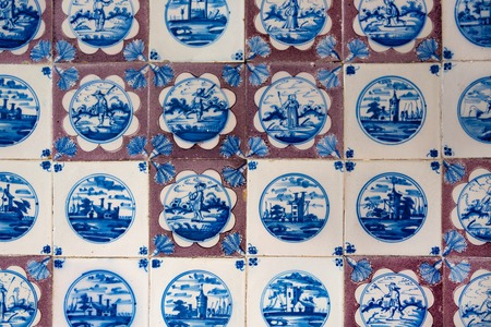 Hillerod, Denmark - June, 2016: Tile on the walls of the room in the Frederiksborg castle. Blue tile in national Scandinavian style. 報道画像