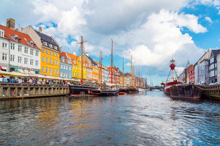 Copenhagen, Denmark - June 2016: View of old Nyhavn port in the central Copenhagen, Denmark.