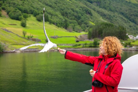 Woman in red jacket traveling on ferry boat and feeding seagull. Tourist feeds seagulls from the deck of the ship. Woman tourist on the deck of a ferry in Norway. Travel to Norway.
