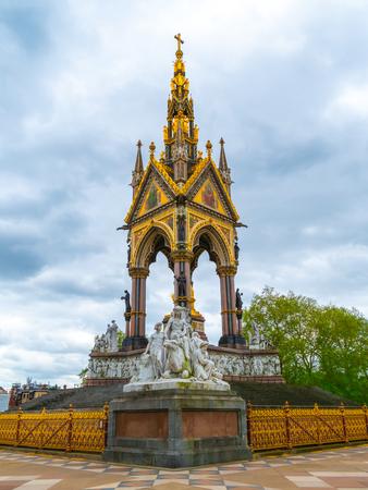 Egyptian themed sculptures at the Albert Memorial in London, UK, at Kensington Gardens, in memory of Prince Albert. Prince Albert Memorial, Gothic Memorial to Prince Albert. London.