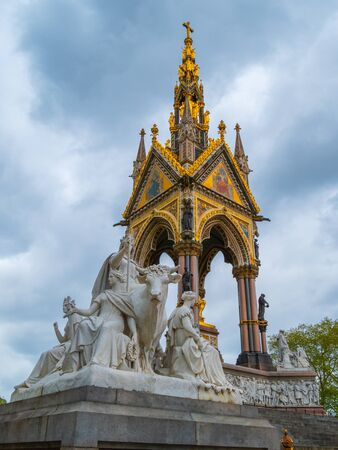 European themed sculptures at the Albert Memorial in London, UK, at Kensington Gardens, in memory of Prince Albert. The Albert Memorial in Londons Hyde Park