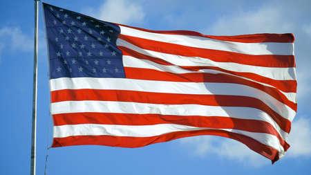 Elegant Nylon American Flag Waving in the Wind. Zdjęcie Seryjne