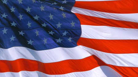 Close up of American banner waving.