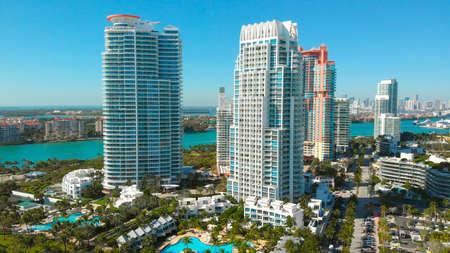 Aerial view of skyscrapers in Miami Beach. Drone view Of Miami Beach, hotels and skyscrapers near South Pointe Beach and coastline, Florida Beaches, resort cities, city lndscape in Miami City