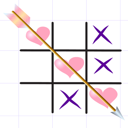 Tic-tac-toe Love game with heart symbol.
