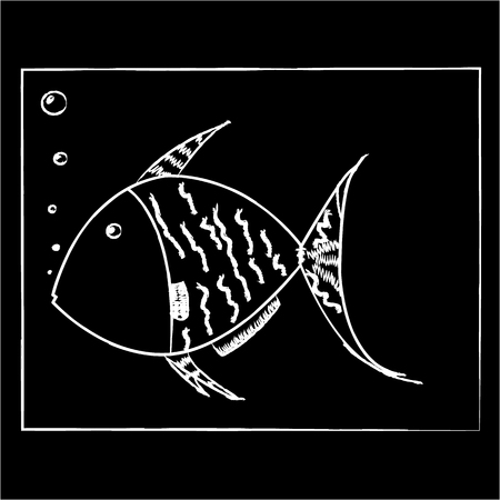 White fish on a black background in a square Ilustração