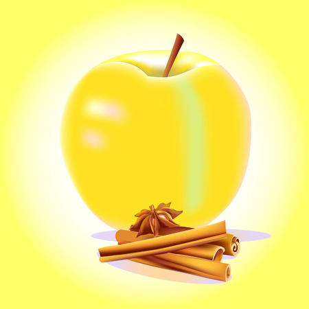 A still-life yellow apple with cinnamon