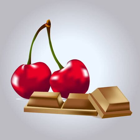 Cherry with chocolate on a gray background