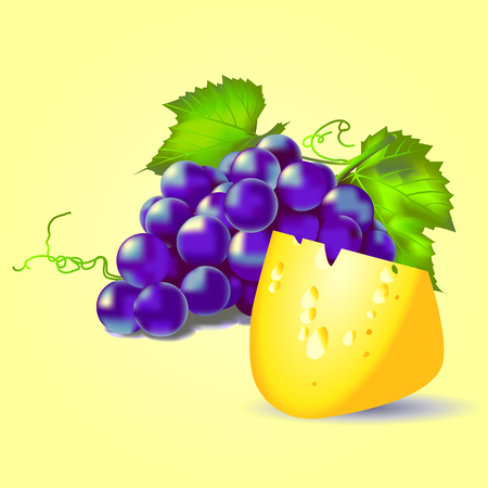 still life blue grapes and cheese on a yellow background