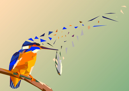 Bird kingfisher on a branch with fish in its beak,mosaic multicolored on a colored background without a contour, this picture is blown by the wind