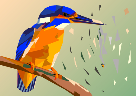 Bird kingfisher on a branch with fish in its beak,mosaic multicolored on a colored background without a contour, this picture crumbles to pieces Vectores