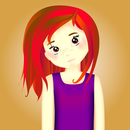 will vandom, witch, girl with red hair in purple tank top with brown eyes, girl of 9 years old,character of the universe of witch