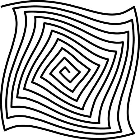 Tunnel, twisted spiral on white background, psychedelic pattern