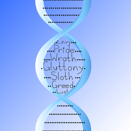 A DNA molecule into which seven deadly sins are inscribed on a blue background, a combination of medicine and religion Иллюстрация