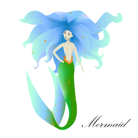 mermaid with blue hair on white background, fantastic girl with lush hair  Illustration