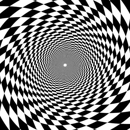 Psychedelic tunnel, chessboard pattern in black and white, trumpet, twisted spiral on white background