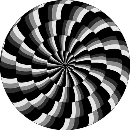 Psychedelic pattern, snail, black and white spiral, optical illusion in grays of gray.