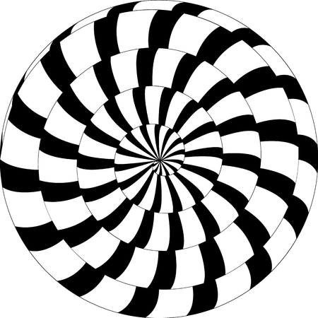 Psychedelic pattern, snail, black and white spiral, optical illusion.