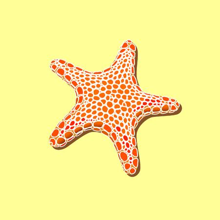 orange spotty starfish on a yellow sand  Illustration