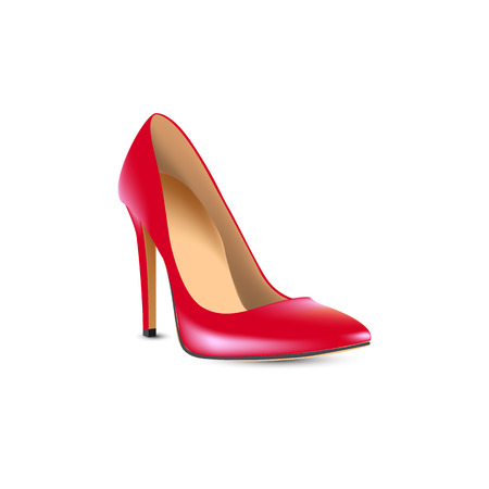 red high-heeled shoes, boats  Illustration