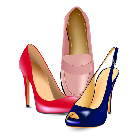 red high-heeled shoes,pink shoes loafers and blue shoes with a cut toe with high heels
