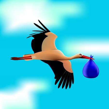 Stork in the blue sky Иллюстрация