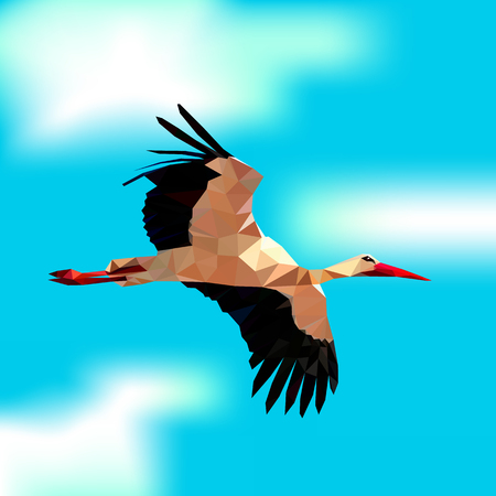 Stork in the blue sky Illustration