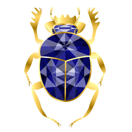 beetle of scarab from gold and sapphires, jewelry on white background
