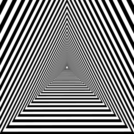 triangular tunnel, black and white geometric psychedelic optical drawing