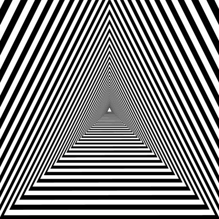 tunnel triangolare, disegno ottico psichedelico geometrico in bianco e nero Vettoriali