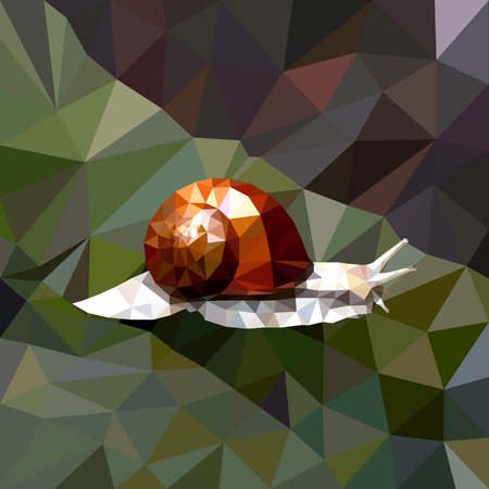mosaic of a snail with a brown shell on a colored background, grape snail in a forest Illustration