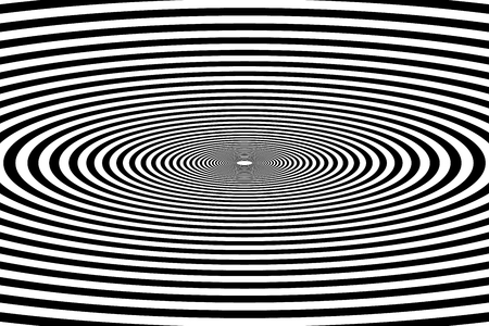 oval tunnel, black and white geometric psychedelic optical drawing