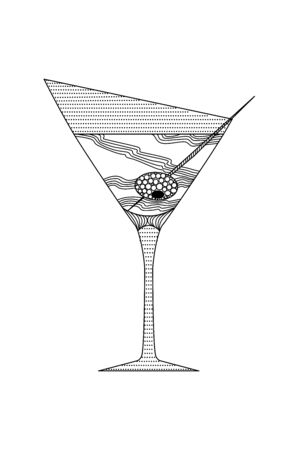 zenart style martini glass with olive on a skewer, doodle, wall art, for print, black and white image