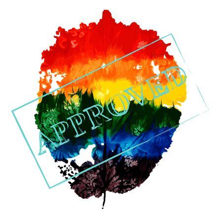 LGBT flag, hazel leaf with stamp approved, imprint