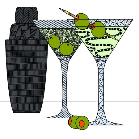 martini glasses with olives and shaker in the style of zenart, doodle, black and white still life, printable, wall art