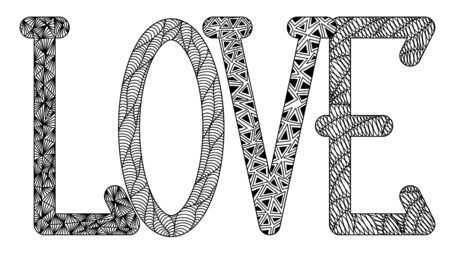 love in the style of zenart, l, o, v, e, black and white drawing, doodle, tangle, letters with patterns, for print
