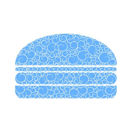 burger with winter pattern, holiday banner, cheeseburger with frosty drowing, festive hamburger