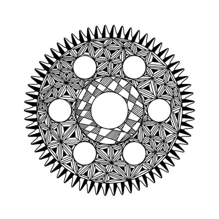 gear in the style of mandala, black and white drawing, doodle, patterns, mechanics Foto de archivo
