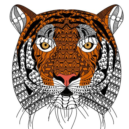zenart style tiger head with moustache,color drawing for print