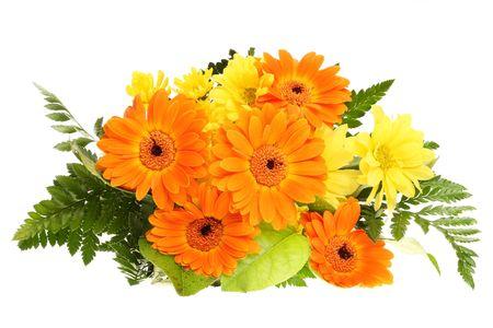 bunch , bouquet, flower ,bloom, orange ,yellow ,green leaf wedding nature isolated background