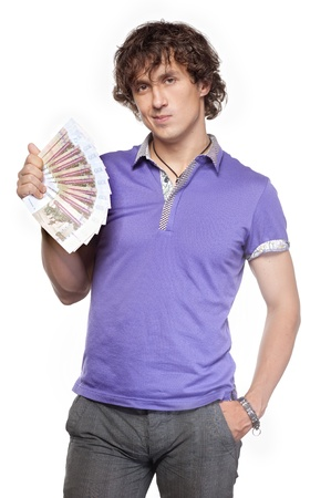 Wealth boy holds cash Stock Photo