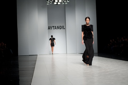 top model: KIEV, UKRAINE - OCTOBER 16: Fashion model wears clothes created by AVTANDIL at the 24th Ukrainian Fashion Week on Oct. 19, 2009 in Kiev, Ukraine. Editorial