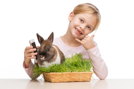 �aucasian: Little girl sitting isolated on white background with cute brown bunny in grass and showing call me sign Stock Photo