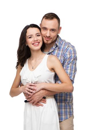 Amanti felici trascorrere del tempo insieme. Essi sono un esempio di coppia felice. Isolato su sfondo bianco Archivio Fotografico - 36991997