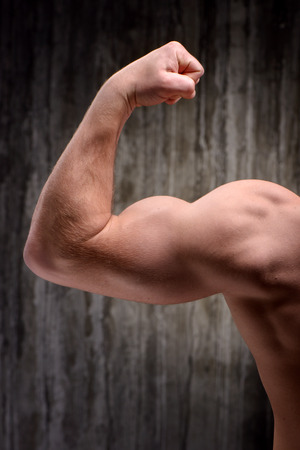human muscle: Back view photo of young sporty man demonstrating biceps. Fitness concept