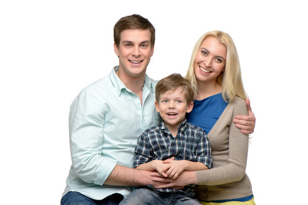 female portrait: Cheerful smiling family of three enjoying time together.
