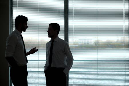 jalousie: Two handsome young businessmen standing in front of jalousie and discussing something Stock Photo