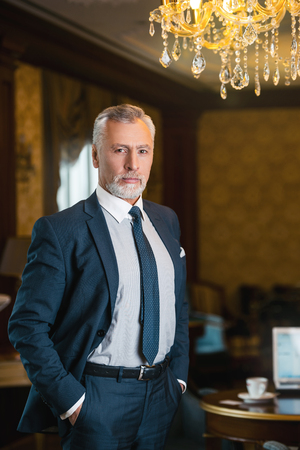 businessman suit: Aged businessman wearing suit, standing in nice hotel room and looking at camera Stock Photo